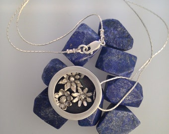 Round Box Pendant with Flowers,Hallmarked Sterling Silver