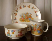 1980s Li'l Bunny Children's plate set