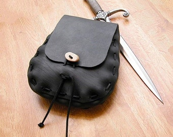 Teardrop Leather Medieval Pouch