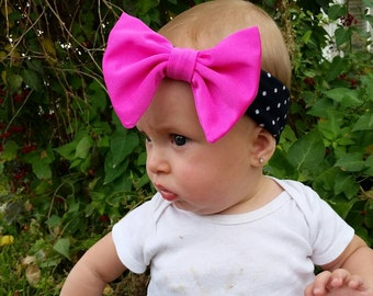 Polka dot big bow head wrap with your choice of bow color.