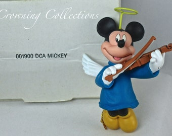Disney Grolier Mickey Mouse Angel Ornament Christmas in Box DCA Vintage Wings Violin RARE