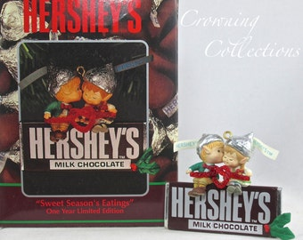 Enesco Sweet Season's Eatings Ornament Hershey's Chocolate Bar Elf Hersheys Elves Love Christmas MIB