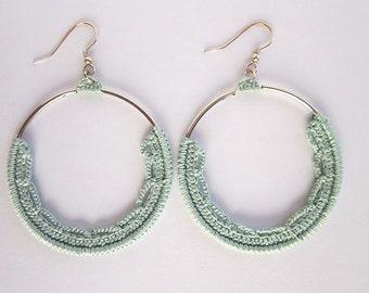 Green boho earring,Boho crochet hoop,Dangel circle hoop,Crochet silver hoop,Green circle earring,Pastel earring,Silver boho hoop,Pastel hoop