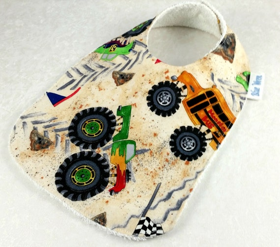 Baby bib big wheel trucks cotton fabric cotton toweling for Little blue truck fabric