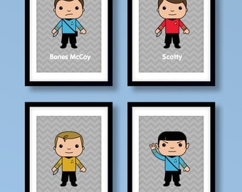 Star Trek inspired wall art, Star Trek wall art, boys wall art, Captain Kirk, Spock, Star Trek print, Star Trek art, Star Trek nursery