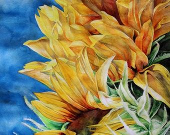 Beautiful Sunflower Watercolor Print on cotton blend paper