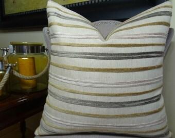 Luxury Designer Decorative Throw Pillow - Stripe Throw Pillow - Ivory Gray Taupe Stripe Pillow Cover - Chic Modern Couch Pillow - 11215
