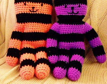 Stripy Cat Teddy - available in ANY 2 colour combinations