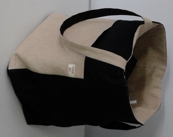 Tote Bag - Tan Linen & Black Broadcloth Reversible  With Large Pockets