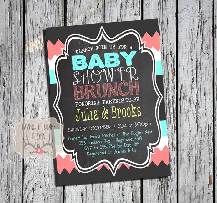 baby shower brunch invitation baby brunch invite coed baby, Baby shower