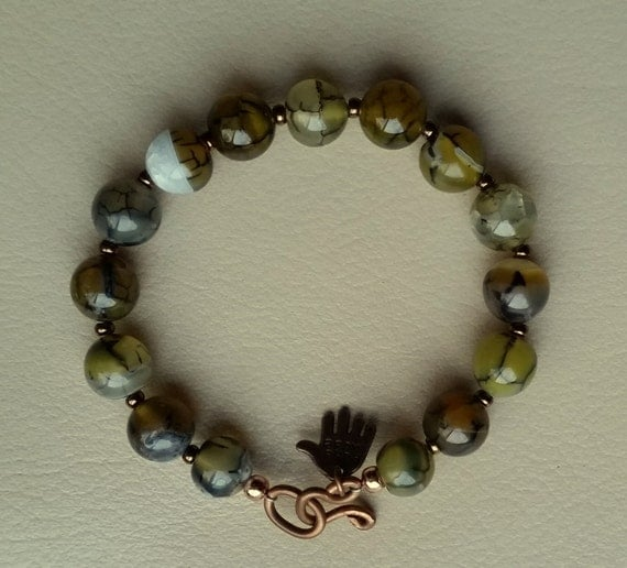 "6-1/2"" BIG AGATE BEAD Bracelet. 10mm Olive Green Banded and Dragon Vein Agate Gemstone Beads, Bronze Seed Beads, Copper Hook & Eye Clasp."