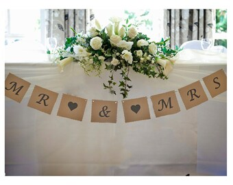 Mr & Mrs Wedding Bunting Brown Vintage Decoration Garland - B101