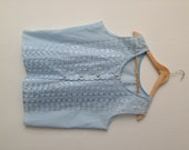 Plus Sized Vintage Womens 60s 1960s Pale Blue Sleevless Top Size 22 Womans