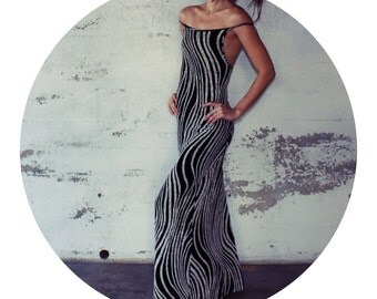 80's Black and White Long Strappy Back Dress
