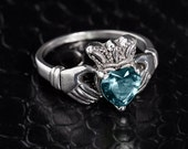 Sterling Silver Claddagh Ring w/ Aquamarine, Silver Aquamarine Ring, Silver Claddagh Ring, Aquamarine Ring, Silver Claddagh Birthstone Ring