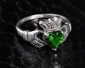 Sterling Silver Claddagh Ring w/ CZ Emerald, Claddagh Ring, Silver Claddagh Emerald Ring, CZ Emerald Ring, Silver Claddagh, Emerald Ring