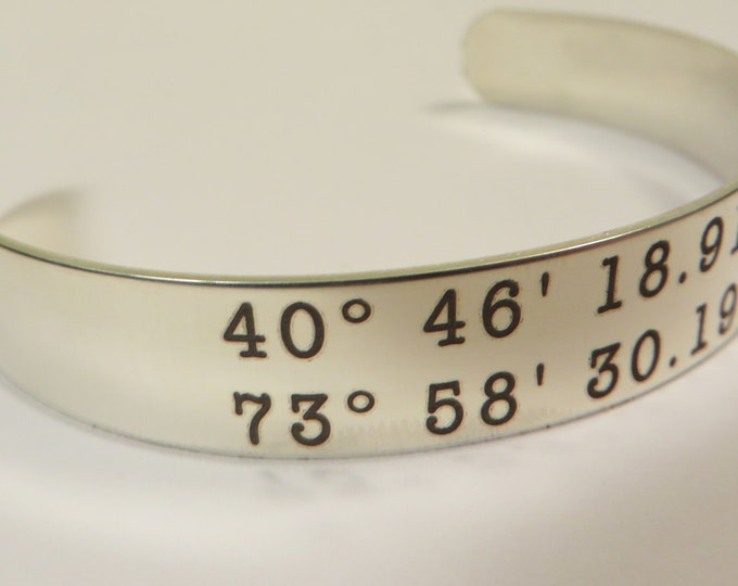 "GPS Coordinates Stainless Steel Bracelet 6"" X .5"" Personalized Custom Text,College student,"