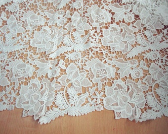White Peony Lace Fabric Floral Embroidered Fabric Wedding Dress Costume Fabric Curtain Fabric 35'' Wide 1 Yard S075