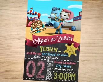 Sheriff Callie Birthday Invitation Chalkboard Christmas - Sheriff Callie Invitation -Sheriff Callie Invite - DIGITAL