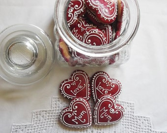 12 Personalized Mini Red Heart Cookies in a Jar
