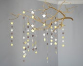 Nursery Mobile 'Branches and Stars' in Gray, White & Yellow