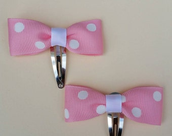 Pink polka dot hair clips