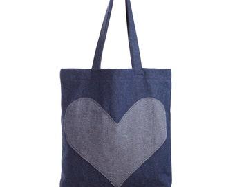 Tote bag, Denim tote, Denim shopper, Shopping tote, Book bag, Denim book bag - Denim tote shopping bag with applique heart and denim straps.