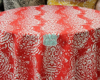 Tablecloth - Premier Prints Cotton - MANCHESTER - Outdoor Calypso Red - Choose Your Size - Table Linen Wedding Home Decor Dining Kitchen