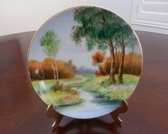 Occupied Japan, Hand Painted, Gold China Plate,  Trees, Dirt Road and Countryside, Artist Signed, Beautifully Detailed, Mint Condition