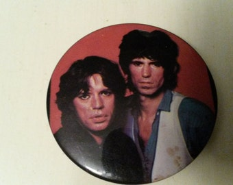 """ON SALE! RARE Vintage 1976 2 1/8""""  Mick Jagger and Keith Richards from the Rolling Stones Button"""