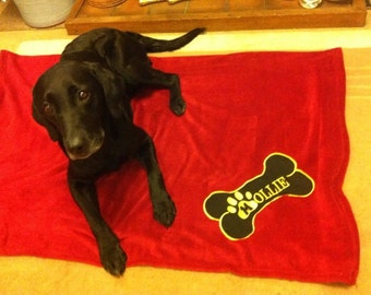 Personalised Embroidered Fleece Dog Blanket  (personalized)