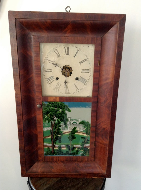 Jerome Amp Co 30 Hour Wall Clock Mahogany Case Painted Glass