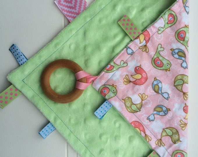 Baby Sensory Tag Blanket | Options: Natural Teething Ring, Crinkle Material, Color | Baby Birds in Green, Blue, and Pink/Girl Baby Blanket