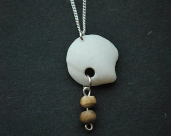 White Shell Pendant with Small Wooden Beads on Sterling Silver Chain