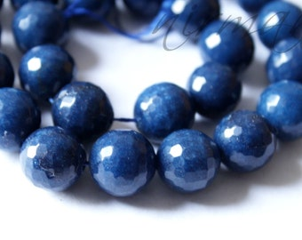 """14mm Faceted Agate Bead / Cobalt Blue Bead / 14"""" Strand"""
