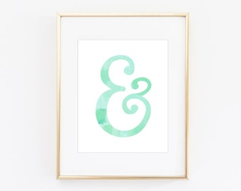 Mint Ampersand Watercolor Print | 8x 10 Digital Print | Instant Download | Modern Watercolor