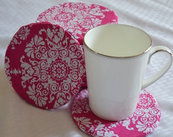 Pink Recycled Rubber Coasters