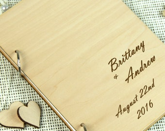 Unique personalized Wedding-Anniversary-Bridal shower guest book, Custom gift, Gift for couple, Memory album, Laser engraved, Rustic theme