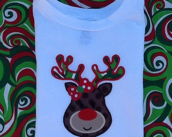 Girl Reindeer Applique Shirt