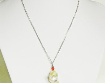 Baroque freshwater flame pearl on silver plated chain