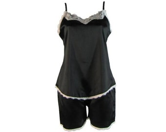 Black Cami Camisole Set with White Lace Satin Summer Pj's Pyjamas Soft and Silky Sleepwear Loungewear Petite to Plus Size DTS00316