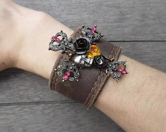 Brown Metal Skull Roses Pink Rhinestones Punk Rocker Cross Up-Cycled Leather Cuff Bracelet