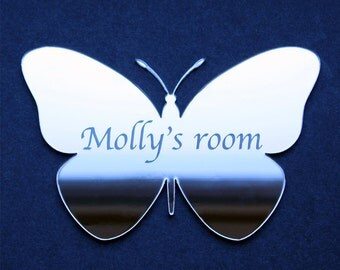 Butterfly Acrylic Mirror - plain or personalised, children's room, home, outside........