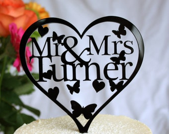 Wedding Cake Topper Heart Shaped - Personalise with ANY Surname. Choice of colours available.
