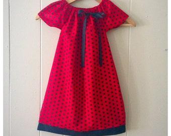 girls peasant dress,ladybug dress, ladybug birthday, ladybug party baby girl dress, polka dot dress, birthday dress,