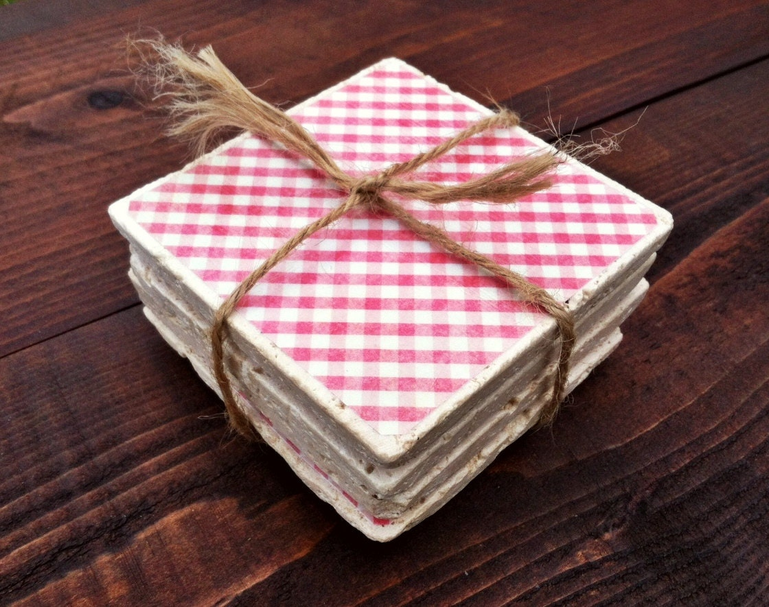 Natural Stone Coasters Set Of 4 Pretty Pink By Bravelilcoaster