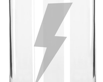 Awesome Lightning Bolt Hand Etched 16 oz Glass Can Cup