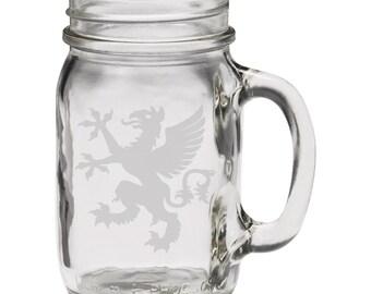 Medieval Bird 12 oz Hand Etched Glass Mason Jar Mug
