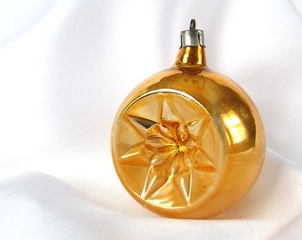 Vintage Christmas Ornament, Gold Star Double Indent Holiday Ornament