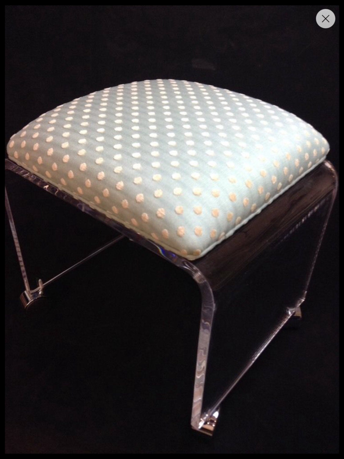 Clear Acrylic Vanity Bench with Fabric by eStopPlasticShop